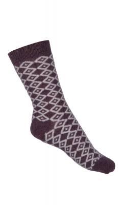 Sok i 55% uld og 20% silke fra Melton- lilla hvidt harlekin mønster