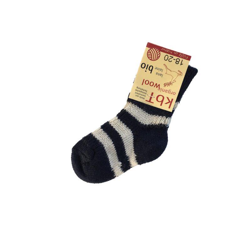 Sokker til barn i økologisk uld. Blå sokker med hvide striber. Hirsch.
