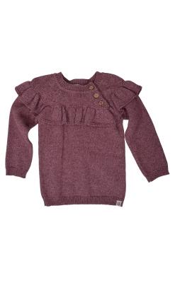 Strikket bluse med stor flæsekrave i uld / bomuld fra Papfar - rødmeleret