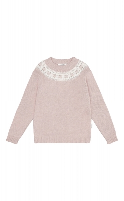 Sweater i uld fra Alerin. Rosa sweater med mønster ved hals.