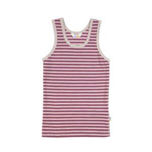 Undertrøje 100% uld på ydersiden og 100% bomuld på indersiden med rosa og sandfarvet striber - Svanemærket fra Joha.