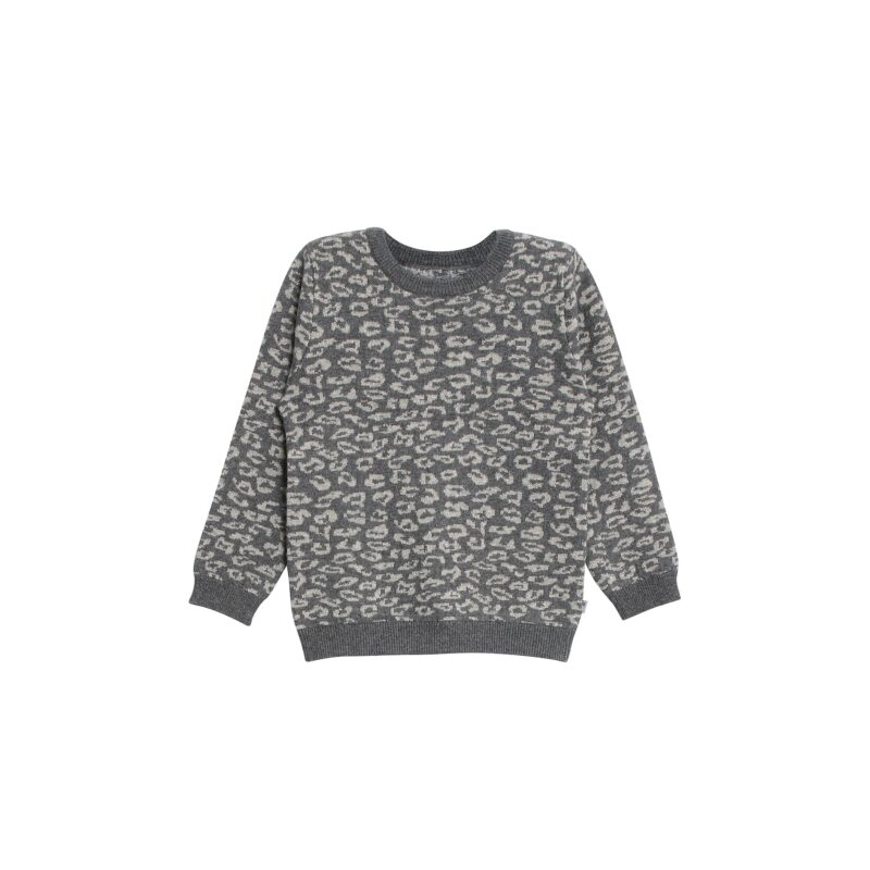Bluse med leopardprikker og glimmer. Grå uld bomuld. Wheat.