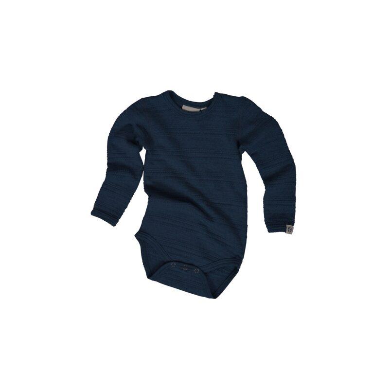 Body med lange ærmer. Uld body i sømandsmønster. Mørkeblå body fra Papfar.
