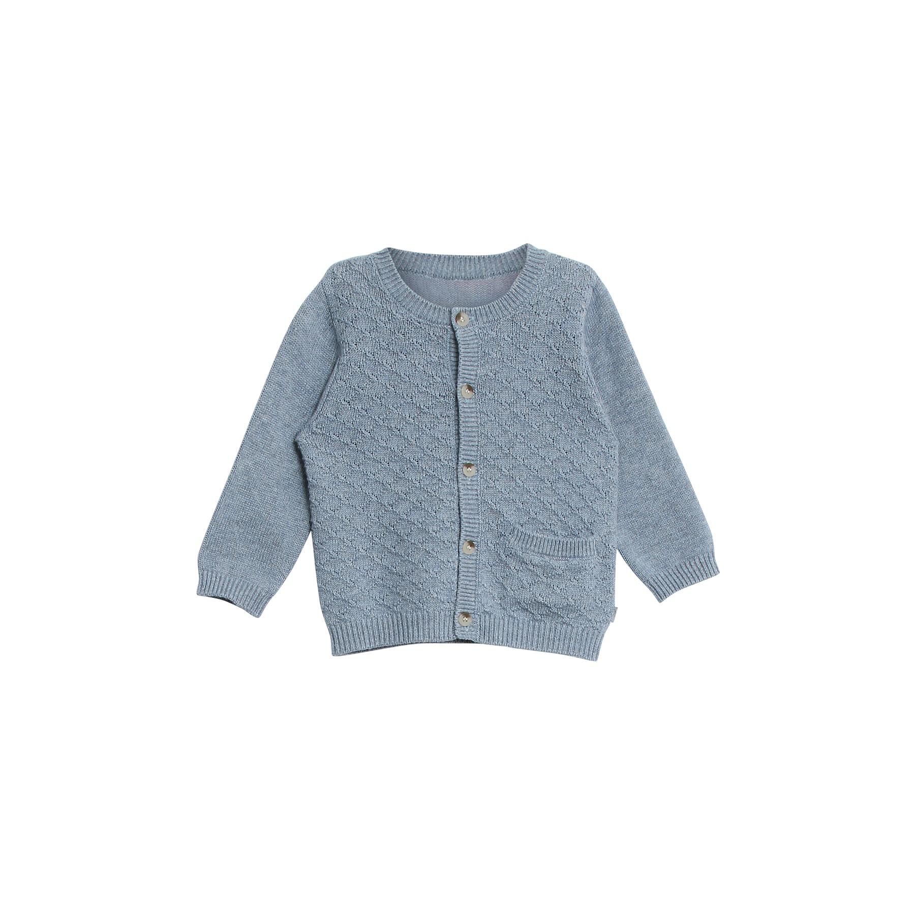 83aa84ee5f4 Cardigan i blå uld bomuld. Strikke med harlekin mønster. Lille lomme foran.  Wheat