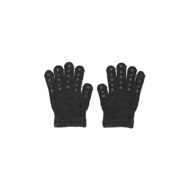 Fingervanter med dutter fra GoBabyGo. Vanter til barn i mørkegrå uld.