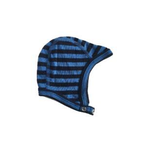 Joha uld hue til baby. Babyhjelm i blå stribet uld.