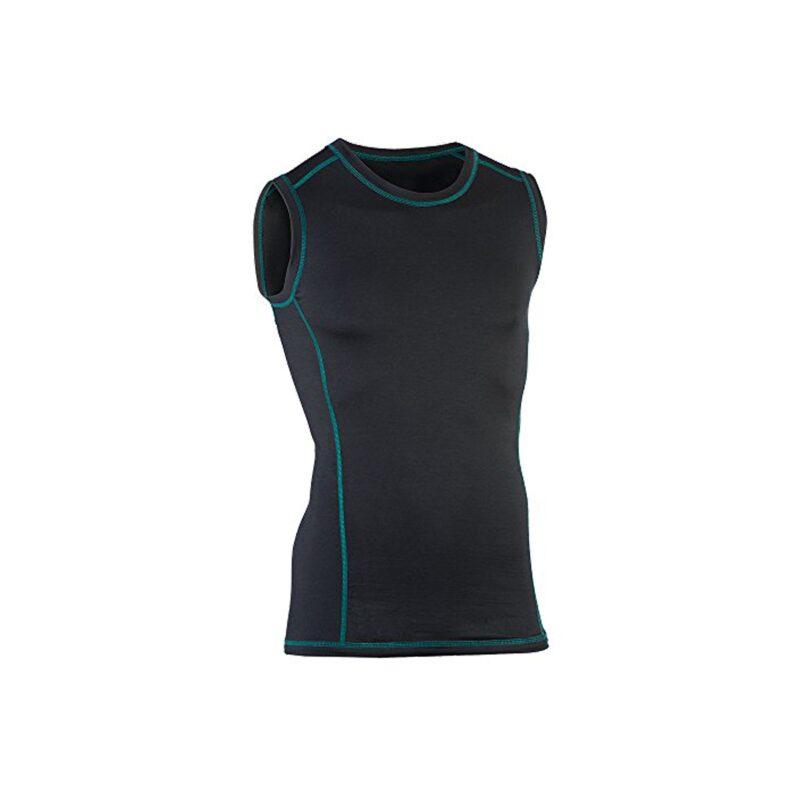 Løbe singlet til herre. Sort t-shirt uden ærmer til løb i uld silke. Bæredygtig GOTS. Engel.