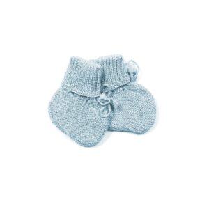 Huttelihut futter i alpaca uld. Strikkede futter til baby. Baby-blå.