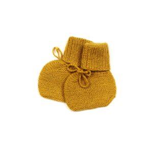 Huttelihut futter i alpaca uld. Strikkede futter til baby. Karry gul.