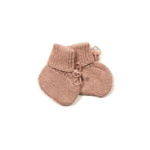 Huttelihut futter i alpaca uld. Strikkede futter til baby. Støvet rosa.