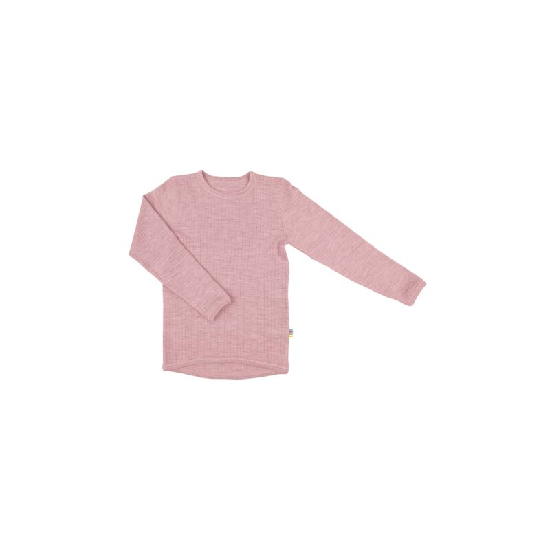 Skiundertrøje i uld. Langærmet undertrøje der også kan bruges som nattrøje. Rosa merinould. Joha.