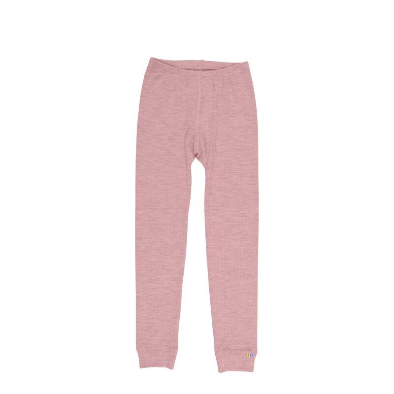 Skiunderbukser i uld til barn. Lange underbukser der også kan bruges som natbukser. Rosa merinould. Joha.