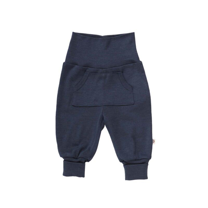 Bukser til baby i mørkeblå uld silke. Müsli. GOTS.