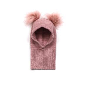 Huttelihut elefanthue med 2 kvaste. Strikket enkelt lag. Rosa meleret uld bomuld.