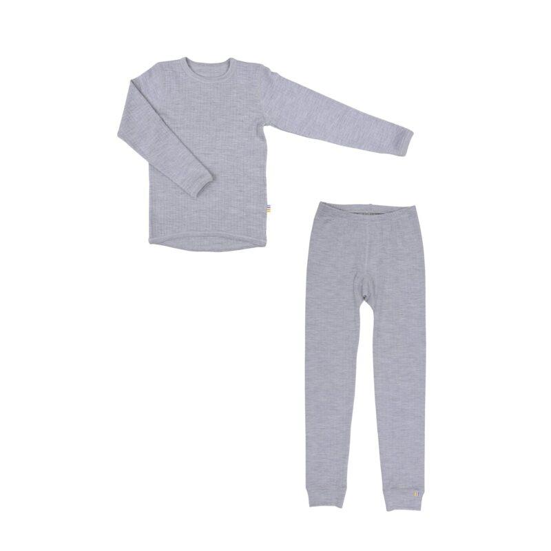 Skiundertøj til barn i merinould. Grå uld undertøj fra Joha.