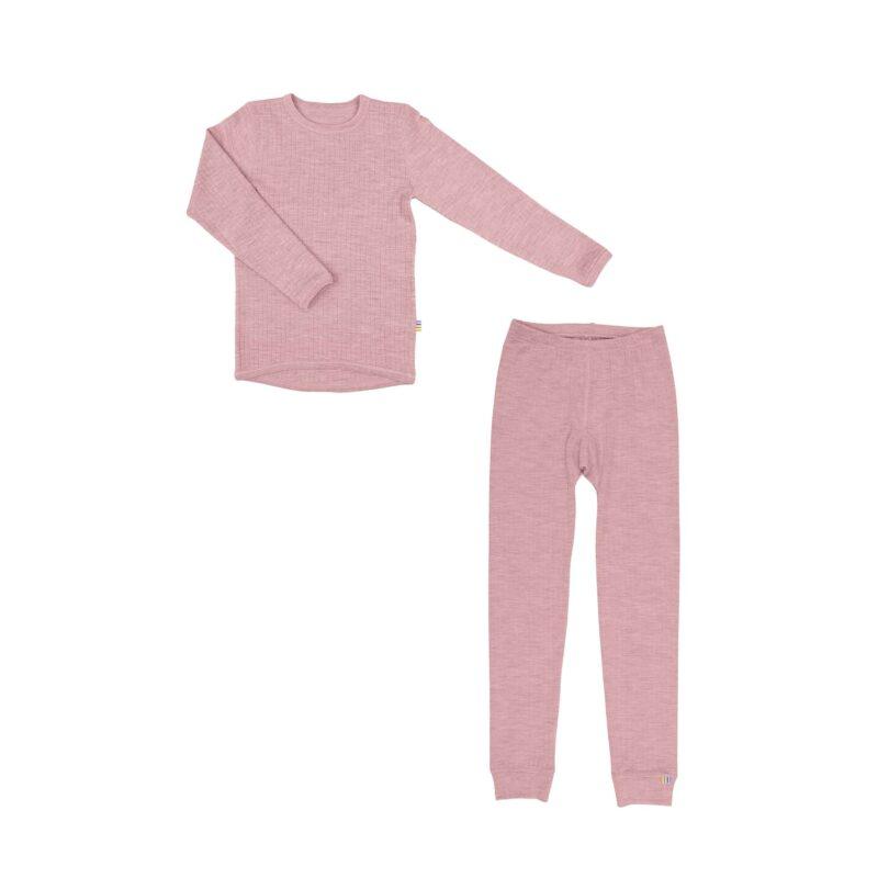 Skiundertøj til pige i merinould. Rosa uld undertøj fra Joha.