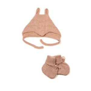 Sæt af Huttelihut futter og babyhue med ører. Støvet rosa alpaka uld.