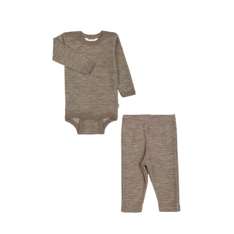Joha body og leggings i sæt. Kastanjebrun med hvid mønster. 100% uld.