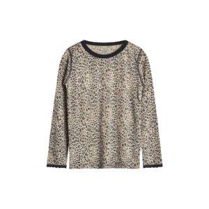 Nattrøje til pige i uld silke. Mønster med leopardprikekr og blondekanter. Hust & Claire.