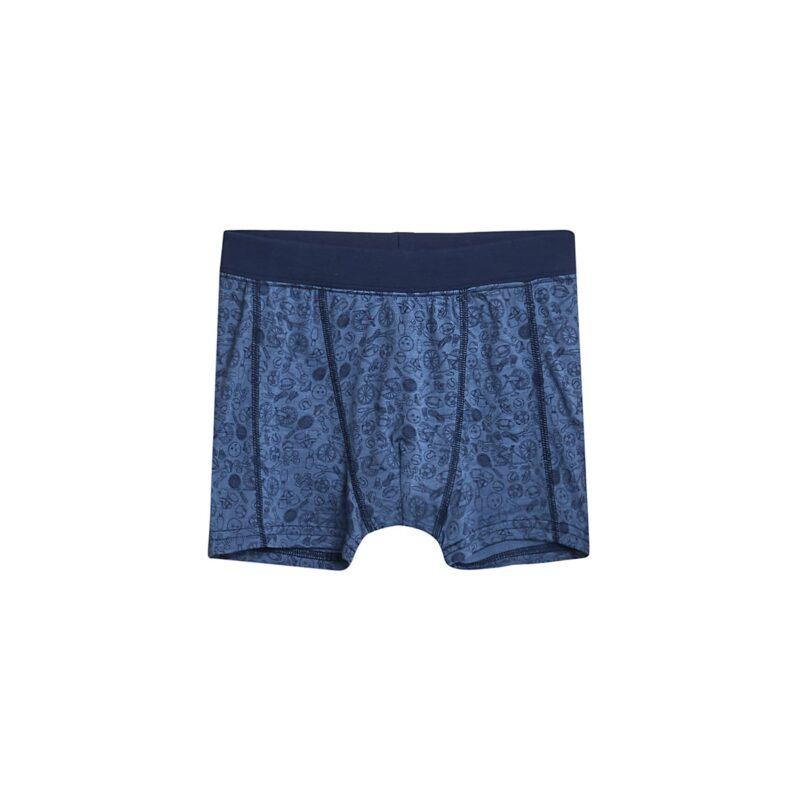 Boxershorts til dreng. Blå med print. Uld silke fra Hust & Claire.