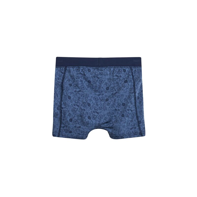 Bagsiden af boxershorts til dreng. Blå med print. Uld silke fra Hust & Claire.