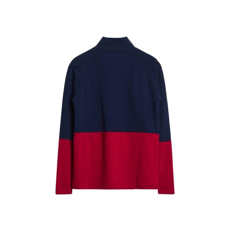 Bagsiden af bluse i uld og bambus. Blå, hvid og røde striber. Lynlås i hals. Hust & Claire.