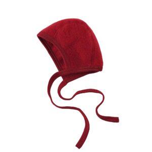Babyhjelm i uldfleece. 100% økologisk uld. Rød hjelm fra Engel. GOTS.