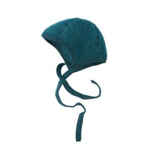 Babyhjelm i uldfleece. 100% økologisk uld. Petroliumsblå hjelm fra Engel. GOTS.
