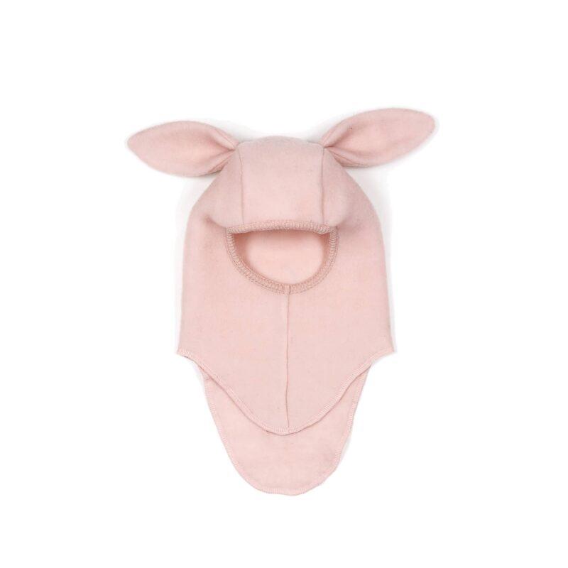 Huttelihut elefanthue med kanin hængeører. Hue i enkelt lag rosa uldfleece.
