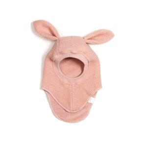 Huttelihut elefanthue med kaninører. Rosa farvet uld elefanthue.