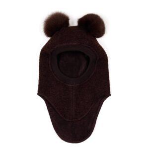 Huttelihut elefanthue med 2 kvaste. Mørk brun uld og brune kvaste.