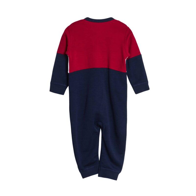 Bagsiden af natdragt til dreng fra Hust & Claire. Dragten er i uld bambus. 3 farver, rød, hvid og blå.