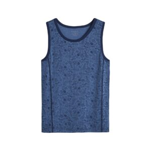 Undertrøje til dreng i uld og silke. Blå undertrøje med print. Hust & Claire.