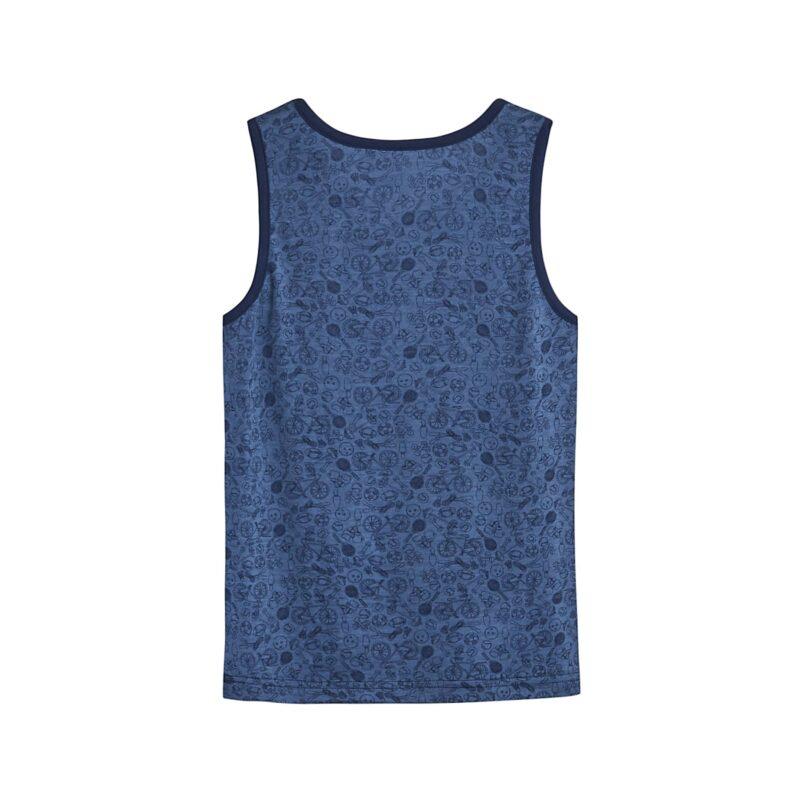 Bagsiden af undertrøje til dreng i uld og silke. Blå undertrøje med print. Hust & Claire.