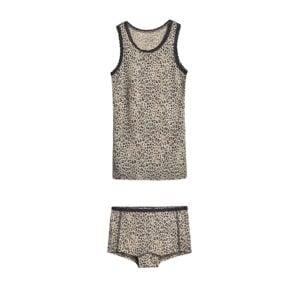 Sæt af hipsters og undertrøje til pige. Uld silke i leopard mønster og med blonder. Hust & Claire.