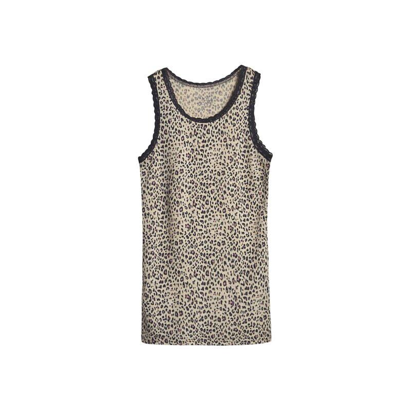 Undertrøje til pige i uld silke. Leopard mønster og blonder på stropperne. Hust & Claire.