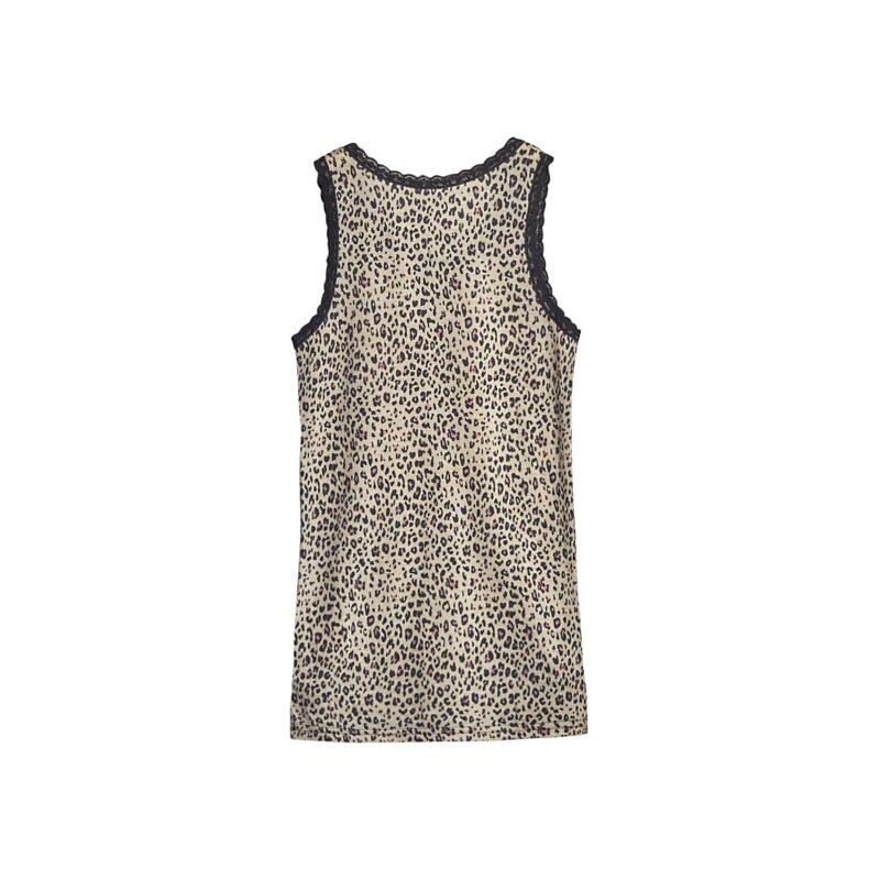 Bagsiden af undertrøje til pige i uld silke. Leopard mønster og blonder på stropperne. Hust & Claire.