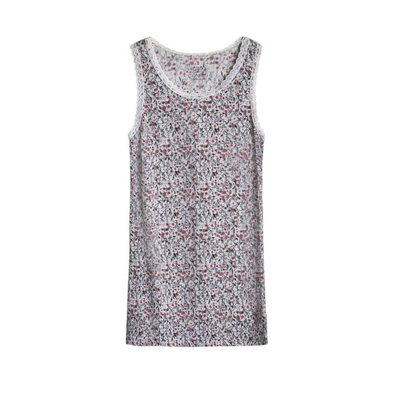 Undertrøje til pige i uld silke. Blomstret mønster og blondekanter. Hust & Claire.
