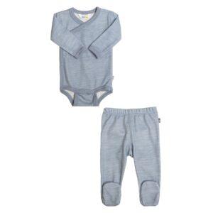 Body og leggings til for tidligt født baby. Præmatur sæt i uld bambus fra Joha. Blå.