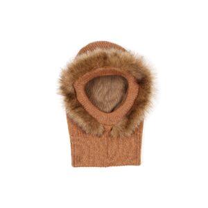 Huttelihut elefanthue med pels om ansigt. Strikket uld elefanthue i camel.
