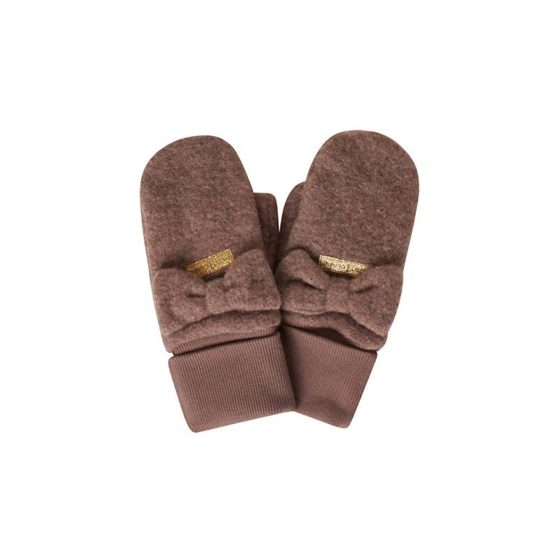 Luffer til barn. Uldfleece luffer med tommeltot og pyntesløjfe. Brun uld fra Hust & Claire.