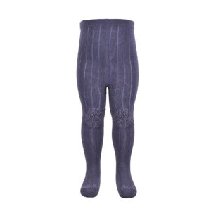 Melton strømpebukser med dutter. Skridsikre strømpebukser i mørkeblå uld og bambus.