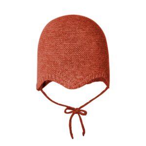 Babyhue i varm uld og cashmere. MP hue til baby i rød uld.