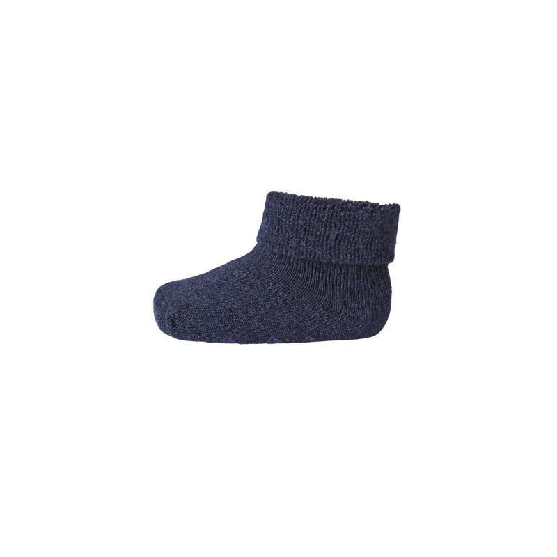 Babystrømpe med frotté og dutter. 80% uld. Mørkeblå strømpe i Oeko-Tex. MP.