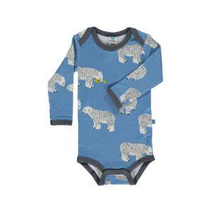Småfolk body til dreng. Print med isbjørne og blå uld bomuld.