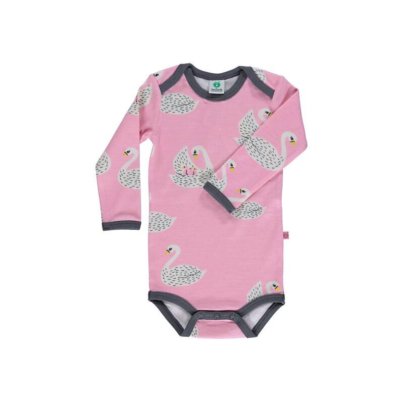 Småfolk body til pige. Print med svaner og lyserød uld bomuld.
