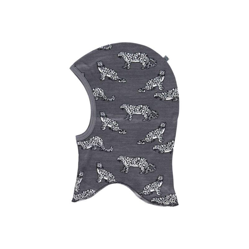 Elefanthue til barn i uld og bomuld. Småfolk elefanthue med print af leopard.