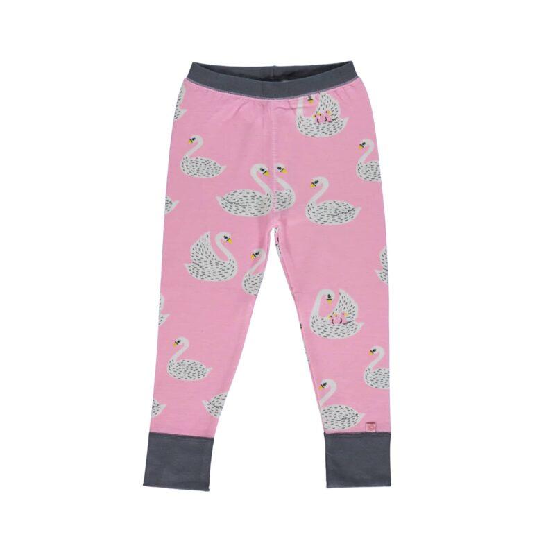 Natbukser til pige i lyserød. Print af svaner.