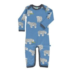 Småfolk natdragt til dreng. Print med svaner og blå uld bomuld.