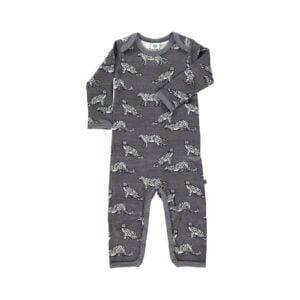 Småfolk natdragt. Print med leoparder og grå uld bomuld.